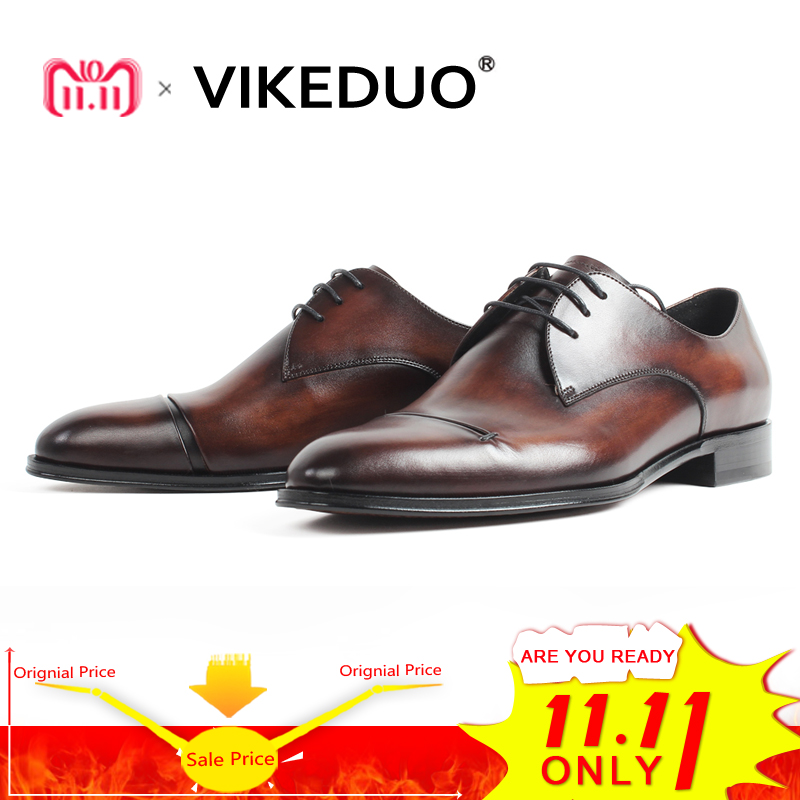 VIKEDUO Men's Derby Shoes Wedding Office Male Dress Shoes Vintage Patina Blake Bespoke Handmade Zapato de Hombre Formal Footwear цены