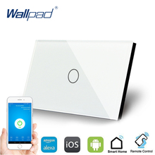 цена на US 1 Gang WIFI Control US Touch Switch Wallpad 1 Gang 1 Way AU Wall Switch Glass Panel Smart Home Alexa Google home IOS Android