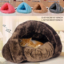 Pet Dog Cat Cave Igloo Cages Bed Basket House Kitten Soft Cozy Indoor Cushion Kennel