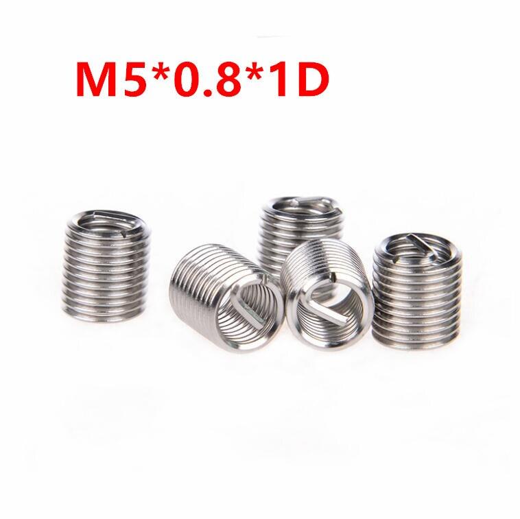 100pcs M5*0.8*1D Wire Thread Insert, m5x1d Wire screw sleeve, M5 Screw Bushing Helicoil Wire Thread Repair Inserts SUS304
