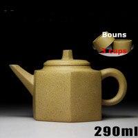 290ml Yixing Hexagon Teapot Cup Set Bonus 3 Cups Handmade Tea Pot Chinese Tea Ceremony New