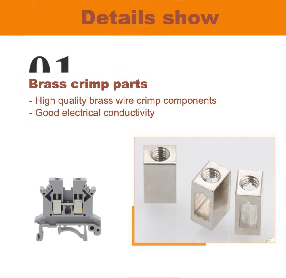 grey terminal blocks brass crimp parts