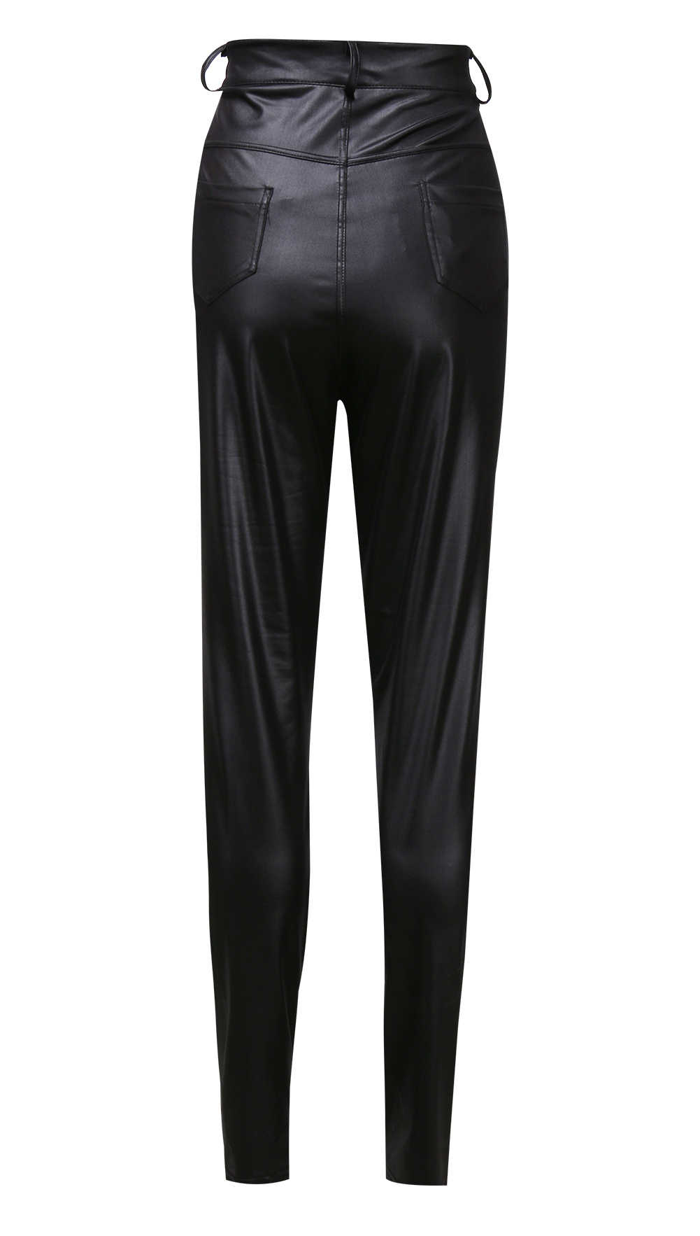 חם סקסי אופנה נשים למתוח גבוהה מותן מכנסי עיפרון סקיני עור מפוצל ארוך מוצק סקסי Slim מועדון מפלגה מקרית כיס מכנסיים
