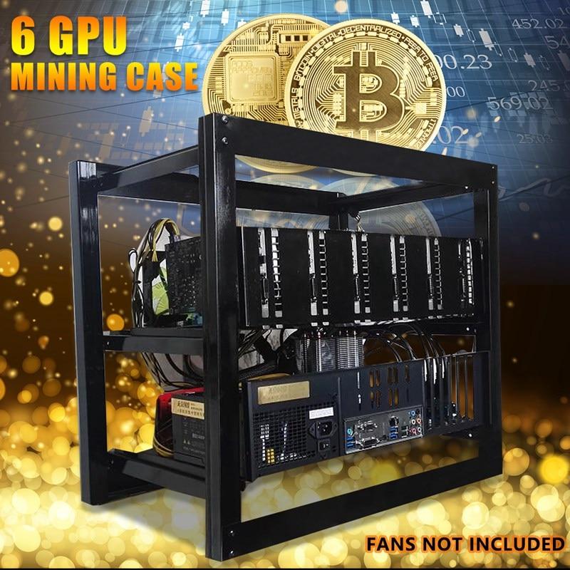 Leory 50x50cm Miner Frame Bracket Open Air Mining Miner Frame Rig Case Bracket 6xGraphics Card 3xFan Bit For 6 GPU ETH Ethereum
