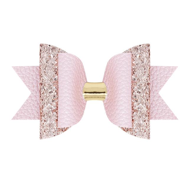 9 pcs. Multi Color Glitter Shine Hair Bow Bundle Set