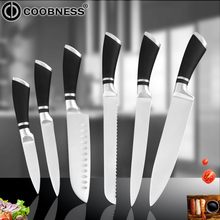 COOBNESS Kitchen Cooking Knife Black Blade Stainless Steel Santoku Knives Japanese Chef Cleaver Meat Vegetable Tool