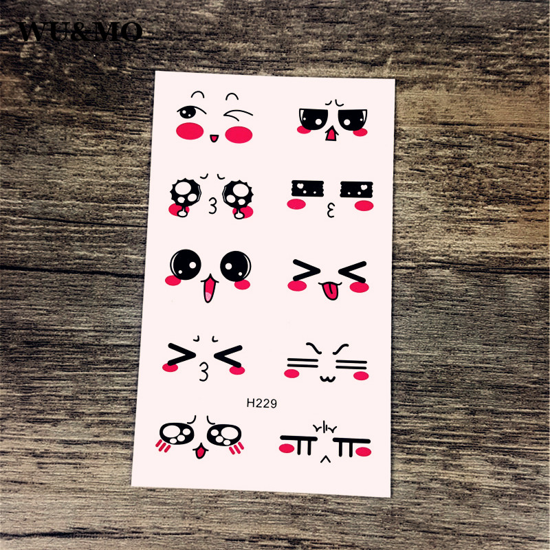 H229 Face Cute Expression Body Art Sexy Harajuku Waterproof Temporary Tattoo For Man Woman Henna Fake Flash Tattoo Stickers