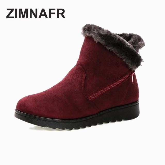 ZIMNAFR BRAND 2017 WINTER  WOMEN WINTER BOOTS WARM FLOCK ZIP CODE FLAT LIGHT FLEXIBLE WOMEN BOOTS PLUS SIZE 35-41