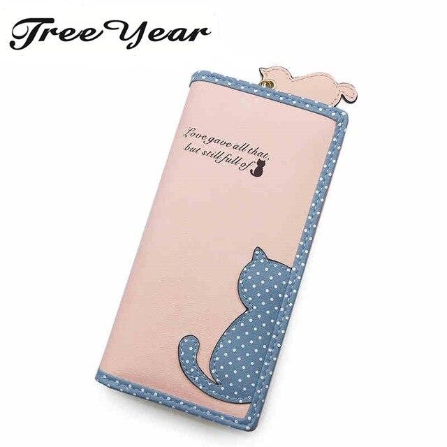 TreeYear Women Purse Wristband Female Purse Soft Pu Leather Phone Wallet Bag Patchwork Women Wallet Fashion Elegant Long Zipper