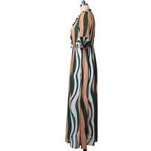 فستان شيفون طويل بأكمام قصيرة نصف جرس