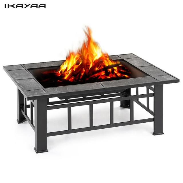 Ikayaa Metal Garden Backyard Fire Pit Patio Rectangular Firepit Stove Brazier Outdoor Fireplace W Cover Bbq Grill In Pits From Home