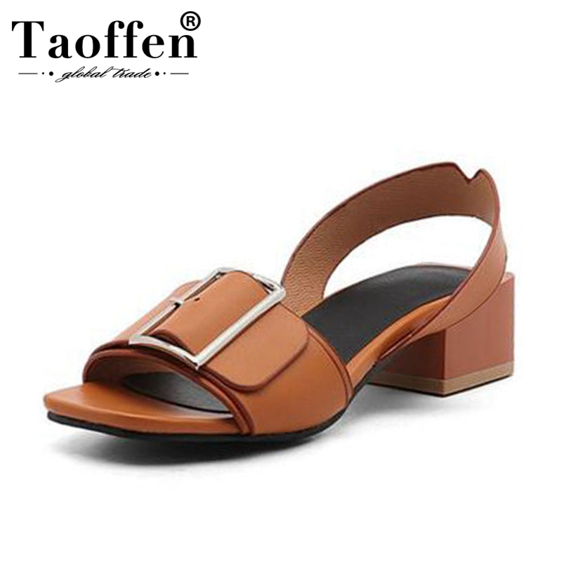 TAOFFEN Size 34 43 Brand Shoes Women Open Toe Shoes Woman Fashion Buckle Square Heels Date Summer Casual Sandals Fanshion Shoes