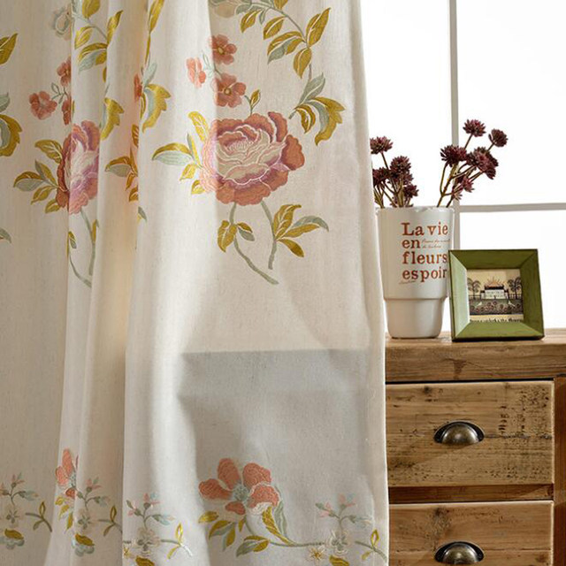 linen branch leaves curtain curtains pocket panels set sheer dao nursery of zou inch rod for white image deconovo solid embroidered floral drapes faux x