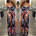 2016 New Floral Print Dress Sexy Slash Neck Off Shoulder High Split Maxi Dress Summer Women Casual Long Dress Plus Size KP#355