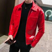 עור מעיל Shinny Mens מעילי מעילי Jaqueta Masculino אדום שחור קפה בגדי במה הזמר מועדון מסיבת מעיל גבר