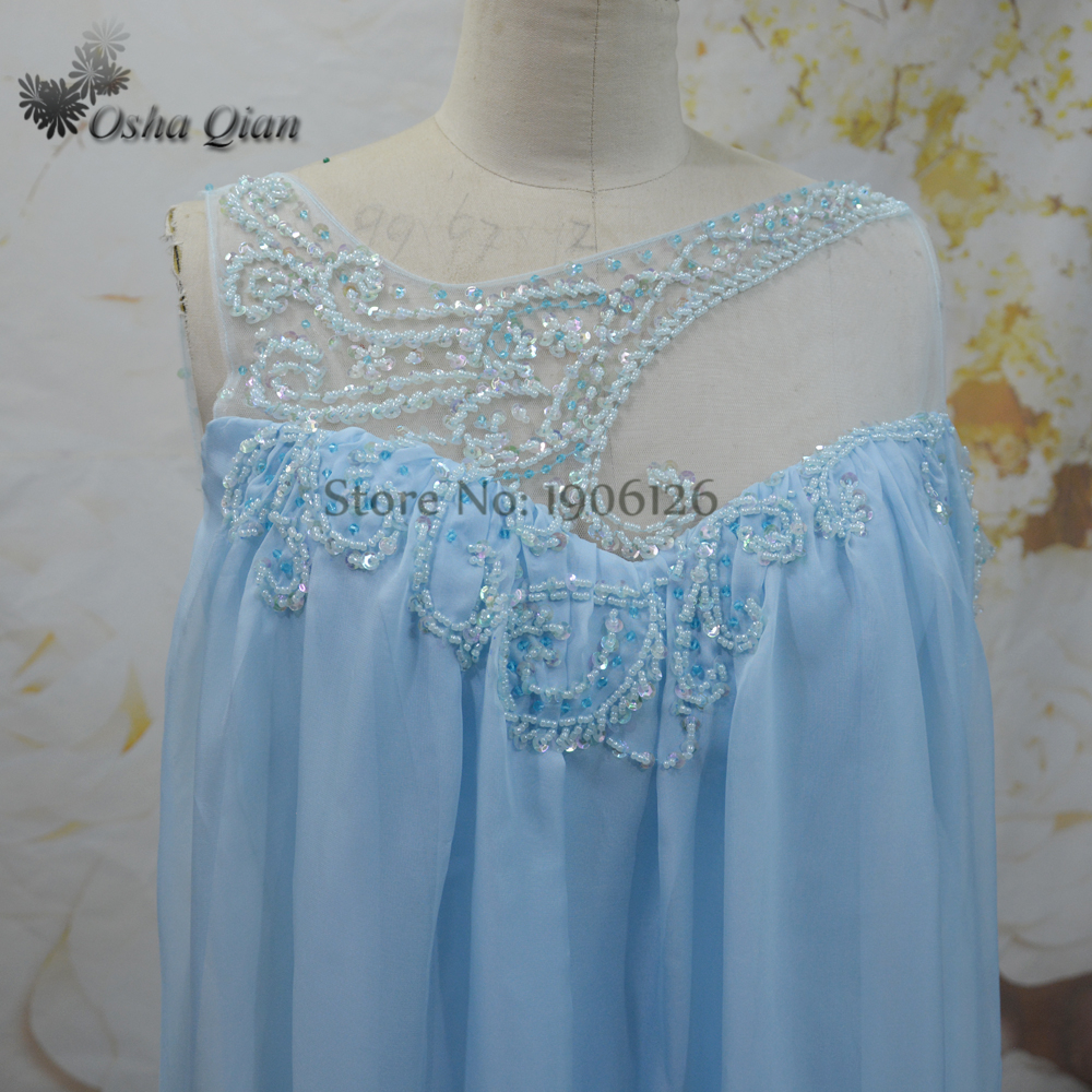 Baby Blue Pregnant Evening Dress Plus Size Beaded Maternity Long ...