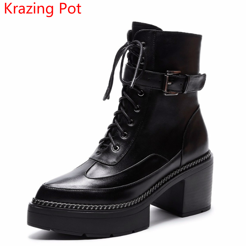 Fashion Cow Leather Platform Pointed Toe Superstar Metal Buckle Winter Boots Lace Up Boots High Heels Women Mid-calf Boots L0f7 zippers double buckle platform mid calf boots