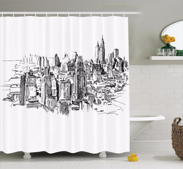 High Quality Arts Shower Curtains New York Hand Painted City Sketch Bathroom Decorative Modern Waterproof