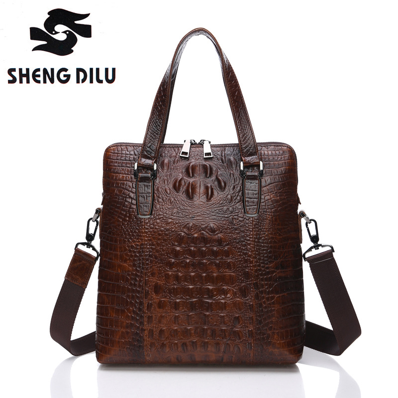 Shengdilu Brand Crocodile Men Vintage Shoulder Bags Business Men's Genuine Leather Tote Bag for Men Messenger bags Mens Handbags 2017 new crocodile handbag shengdilu brand women genuine leather tote shoulder messenger bag free shipping