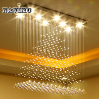 Modern Luxury K9 Crystal LED Rectangle Chandeliers Lighting For Dinning Room Living Room Bedroom Pendant Lamp