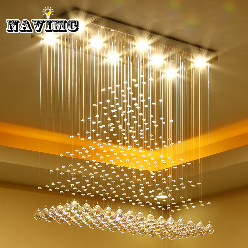 Modern Luxury K9 Crystal LED Rectangle Chandeliers Lighting for Dinning Room Living Room Bedroom Pendant Lamp Wave Ceiling LampModern Luxury K9 Crystal LED Rectangle Chandeliers Lighting for Dinning Room Living Room Bedroom Pendant Lamp Wave Ceiling Lamp