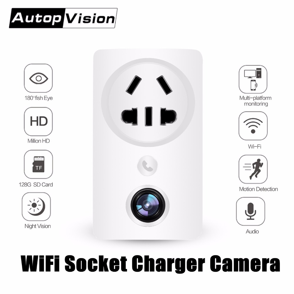 Wifi Wall Socket Charger Adapter Camera EC59 180 degree Panoramic 1080P Fisheye Wireless CCTV Home Security Surveillance Camera-in Surveillance Cameras from Security & Protection    1
