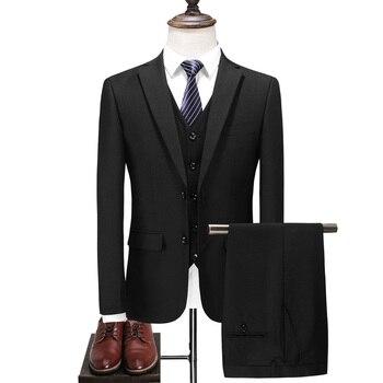 Classic Men Black Formal Suits Asian Size 3XL Business Banquet Men Dress Suit High Quality Men Wedding Suits
