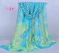 Fashion 10pcs/lot 50*160cm Peacock Print Polyester Scarf Shawls Chiffon Material