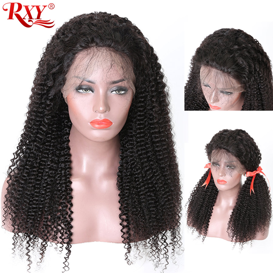 Pre Plucked Lace Front Human Hair Wigs With Baby Hair RXY Afro Kinky Curly Wig 13x4