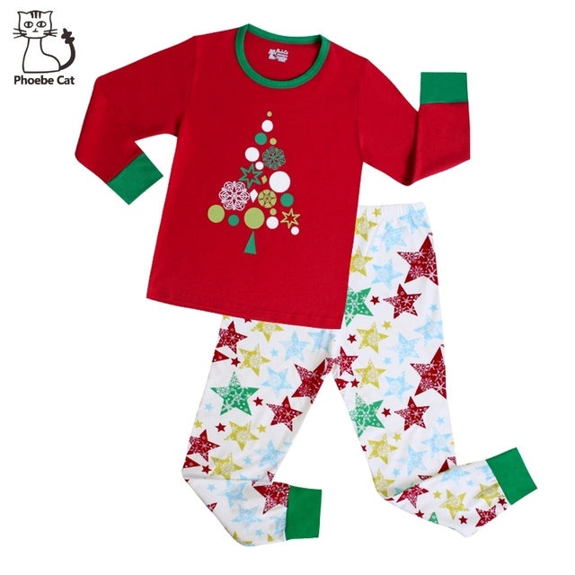 Phoebe Cat New Girls Christmas Pajamas 100 Cotton Striped Christmas Pajama  Santa Christmas Tree Sleepwear Kids Girls Clothes 4b05bf78b
