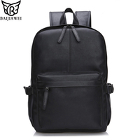 BAIJIAWEI 2019 New Oil Wax Leather Backpack For Men Travel Backpacks Western Design Style Leather School Backpack Mochila Zip