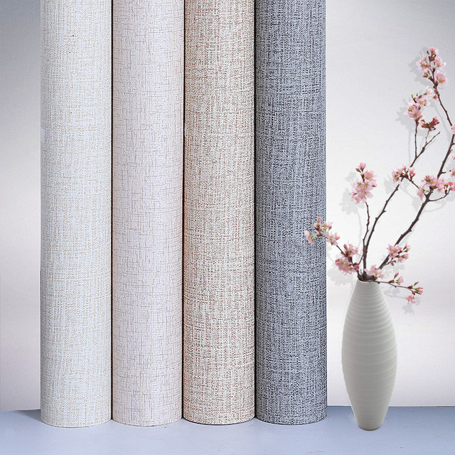 PVC Wallpapers Kitchen Waterproof Self-adhesive Wallpapers Rolls Simple Linen Wall Papers Home Decor Bedroom Living Room Walls