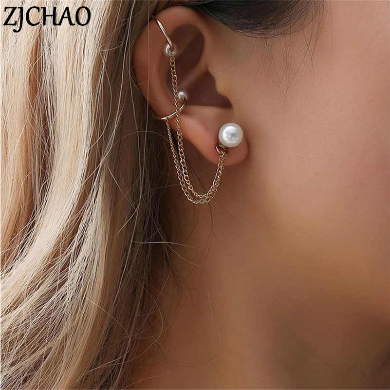 1pc New Fashion Tassel Chain Pearl Earrings For Women Punk Mujer Brincos Girl Long Cuff Clip Earrings Jewelry Pendientes Bijoux