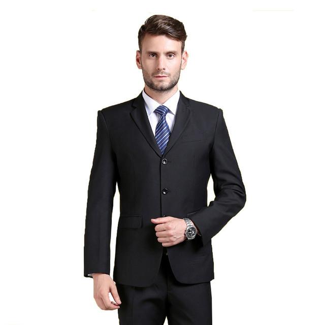 (Jaqueta + Calça) moda Blazer Ternos Dos Homens Ternos de Marca Slim Fit Smoking Formal Ternos de Vestido Da Marca de Moda de Algodão Blazer Ternos B067