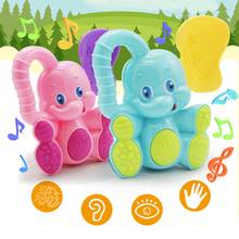 Cute Colorful Elephant Baby Toys Plastic Hand Baby Rattle Mobiles Jingle Shaking Bell Baby Toys Musical Educational Toys