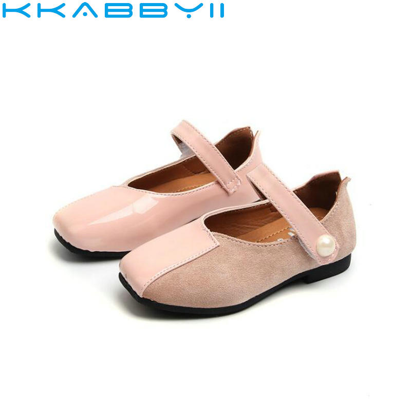 Spring New Children Shoes Girls Princess Shoes Fashion Bead PU Leather Shoes Girls Soft Flat Kids Shoes