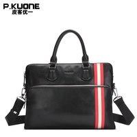 P. KUONE Европа и США цвет верхний слой кожаная мужская сумка поперечная кожаная сумка деловой портфель