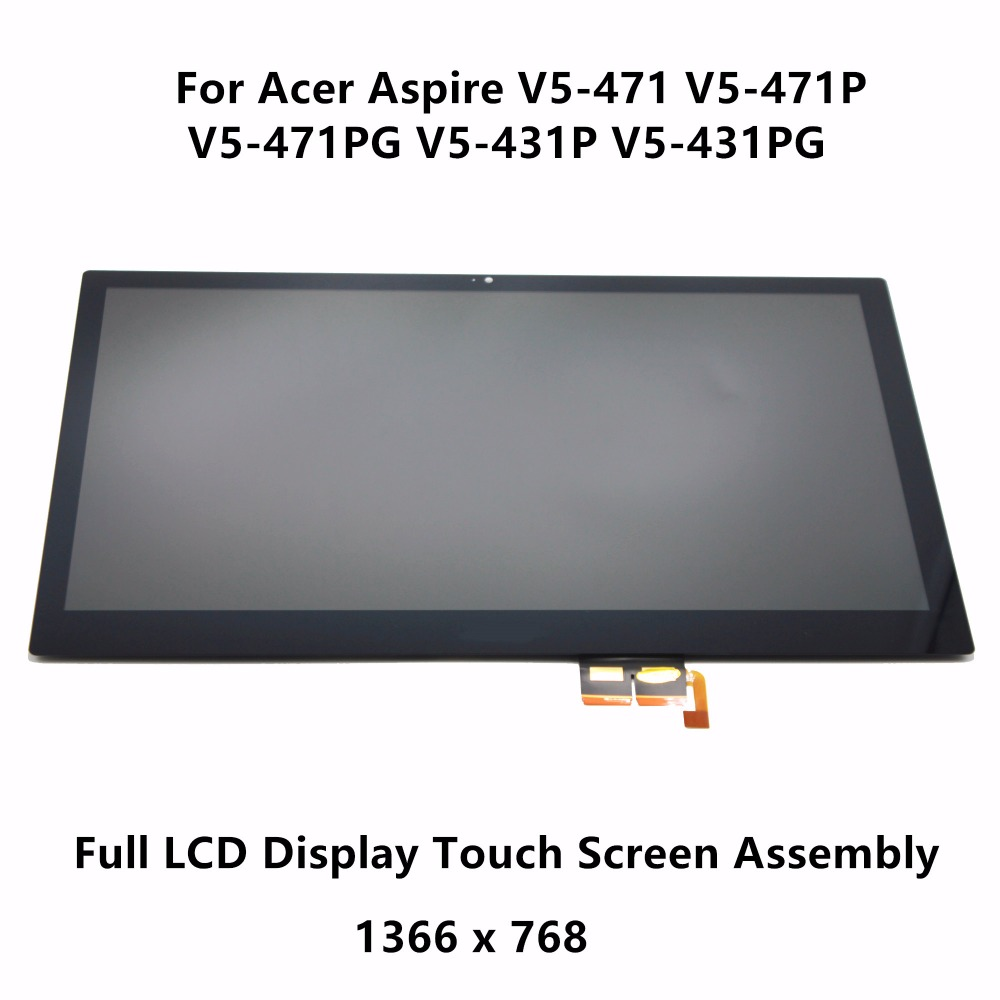 14'' Touch Glass Screen Digitizer + LCD Panel Display Assembly Panel For Acer Aspire V5-471 V5-471P V5-471PG V5-431P V5-431PG 11 6 lcd assembly for acer aspire v5 122p v5 132p ms2377 lcd display touch screen digitizer with frame display panel