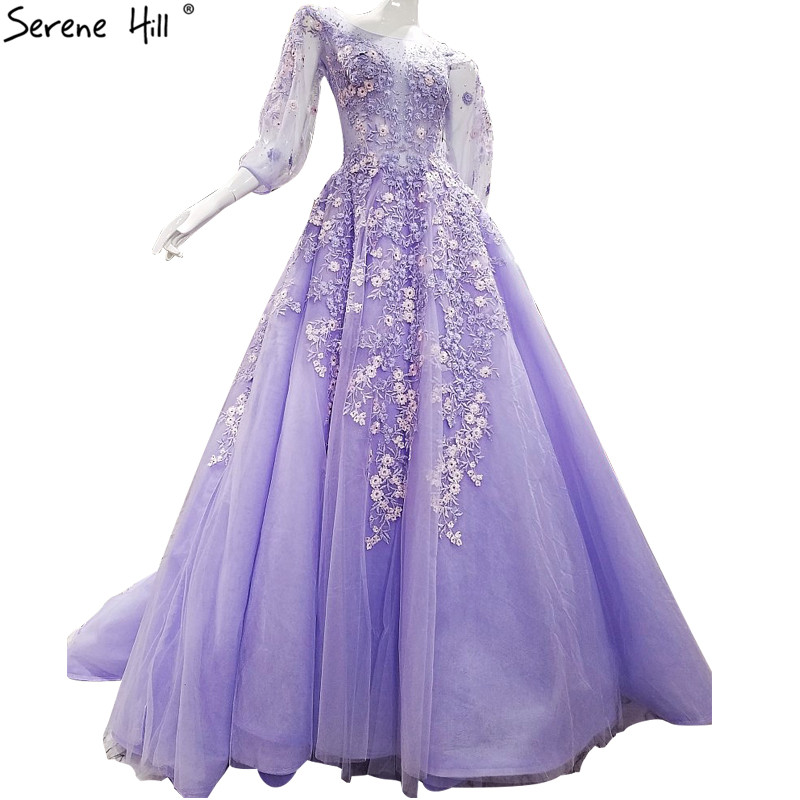 Newest Purple High Quality Sexy Evening Dresses 2018 Embroidery Flowers Illusion Tulle Evening Gowns Vestido De Festa