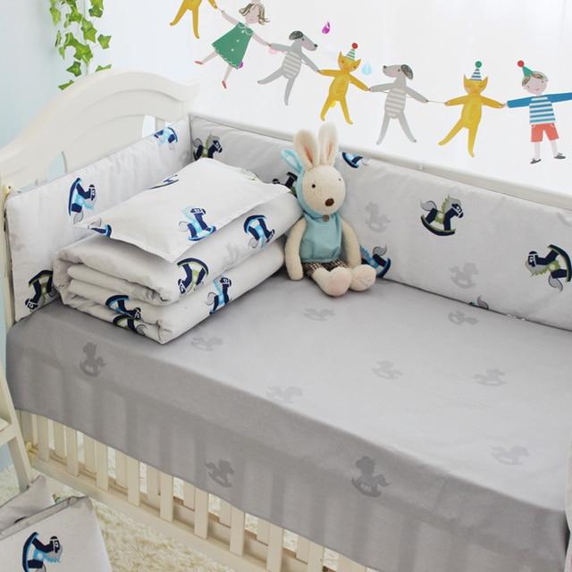 4-10PCS New Arrival Cotton Baby Cot Bedding Set Newborn Cartoon Crib Bedding Detachable Quilt Pillow Bumpers Sheet Cot Bed Linen