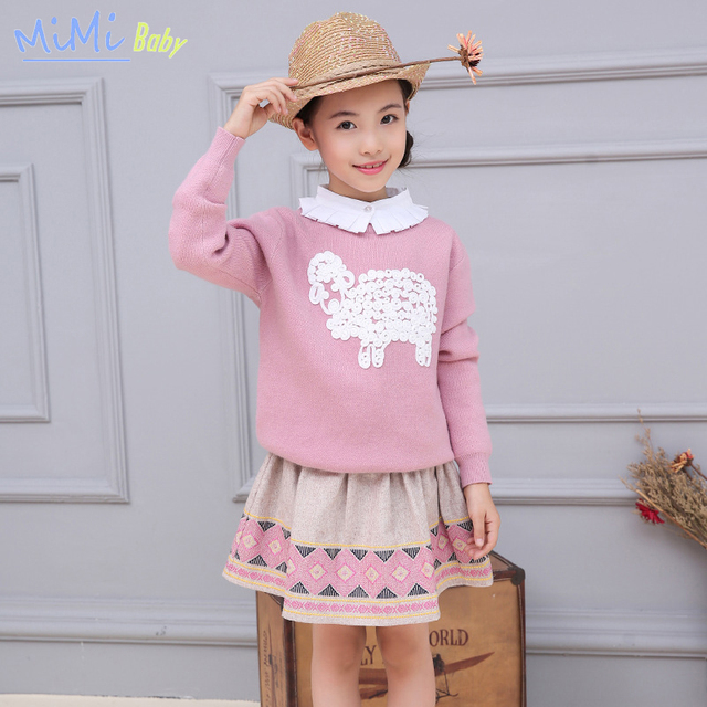 Children's skirt Girls bust Han edition of wool skirts, embroidered skirt girls 2017 spring new short pink plaid skirt