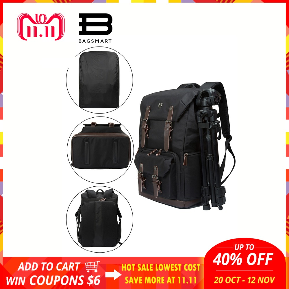 BAGSMART Camera Backpack Canvas Leather Backpack Multifunctional Waterproof Camera Bag Travel Bag for Camera NATIONAL GEOGRAPHIC очки kraftool 11008 expert защитные закрытые панорамные непрям вентиляция с антизапотев покрытием
