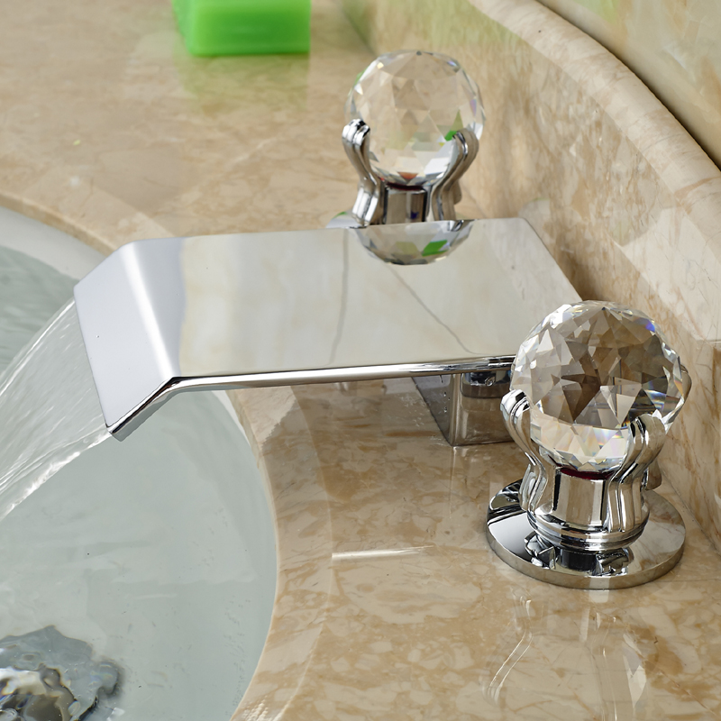 цена на Luxury Dual Handle Bathroom Basin Sink Faucet Waterfall Widespred Mixer Taps Deck Mount Chrome Finished