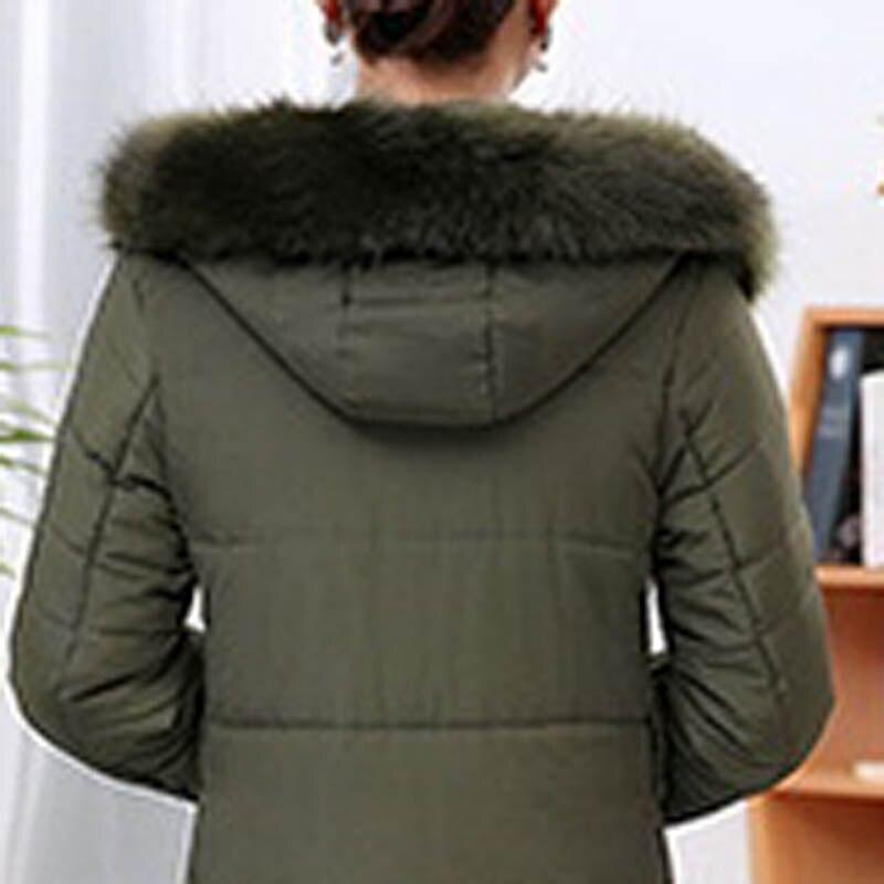 Veste Capuchon Des Noir La À army Pfk95688m Col De Longue Fourrure Hiver bourgogne Dans Femmes D'âge Moyen Section Green Décontractée 8RqC4xSw