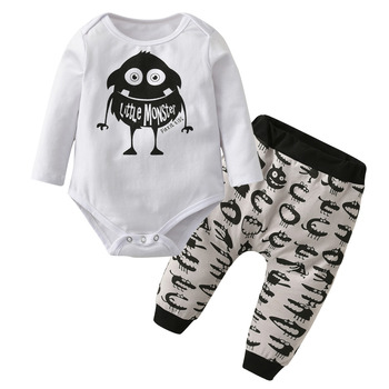 Infant Clothing Newborn Cartoon Monster Print Baby Boy Clothes 2Pcs Set Long sleeve Romper+Pants Autumn Toddler Outfits