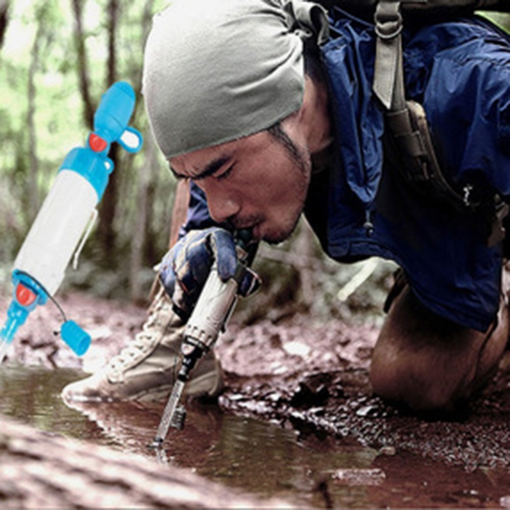 Mini Portable Water Filter Kit Outdoor Camping Hiking Emergency Survival Gear Straw Purifier Cleaner Emergency Supplies