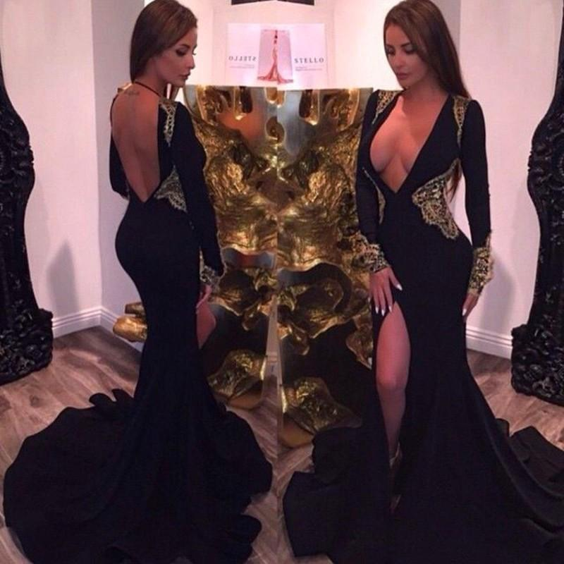 Deep V Neck Black Prom Gown Sexy Backless Mermaid Side Split Long Sleeve Beaded Sequin Evening Dress For Wedding Party