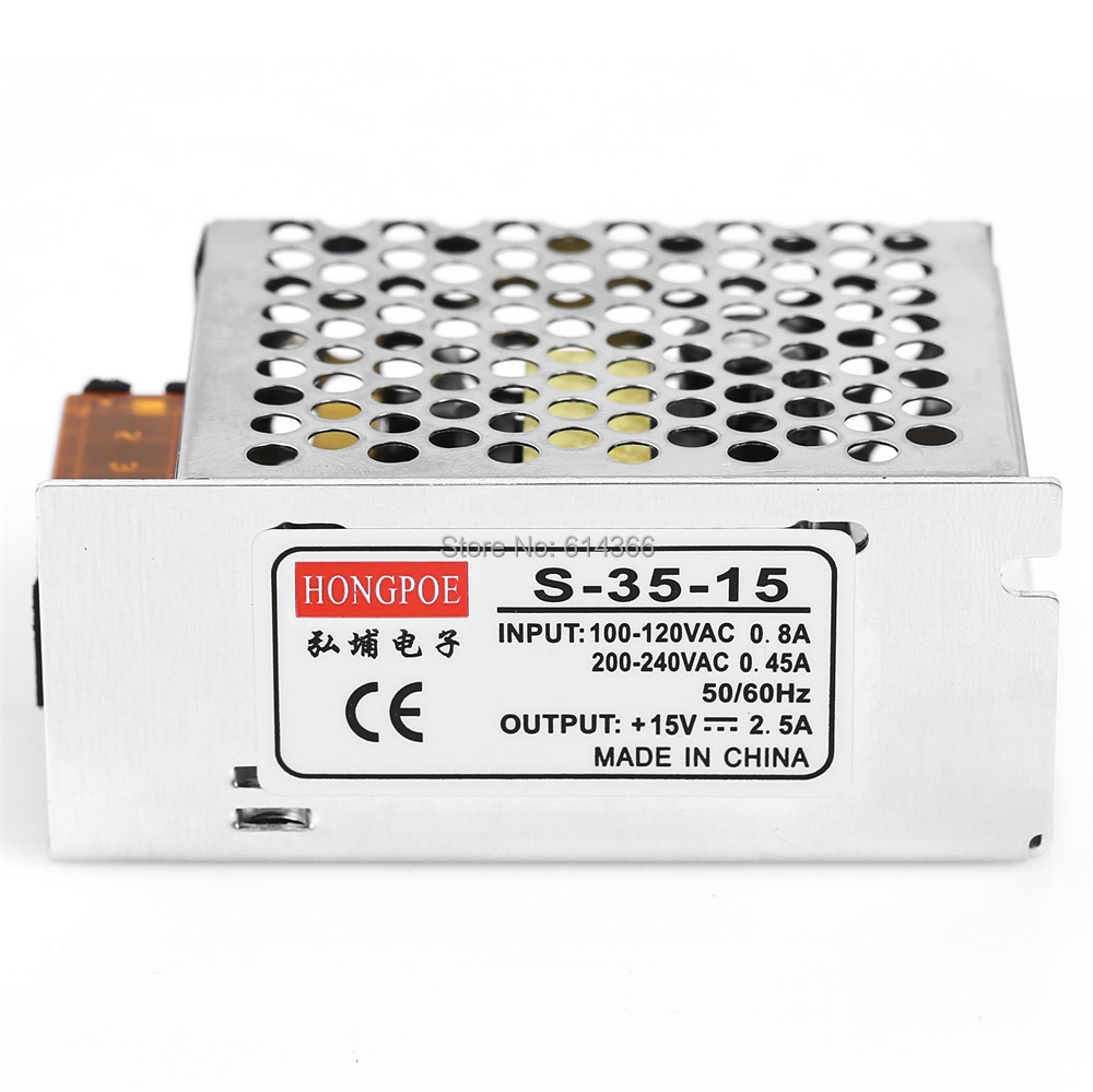 5 PCS 15V 2.5A 35W Switching Power Supply Driver for LED Strip AC100-240V Input to DC 15V best quality 12v 15a 180w switching power supply driver for led strip ac 100 240v input to dc 12v