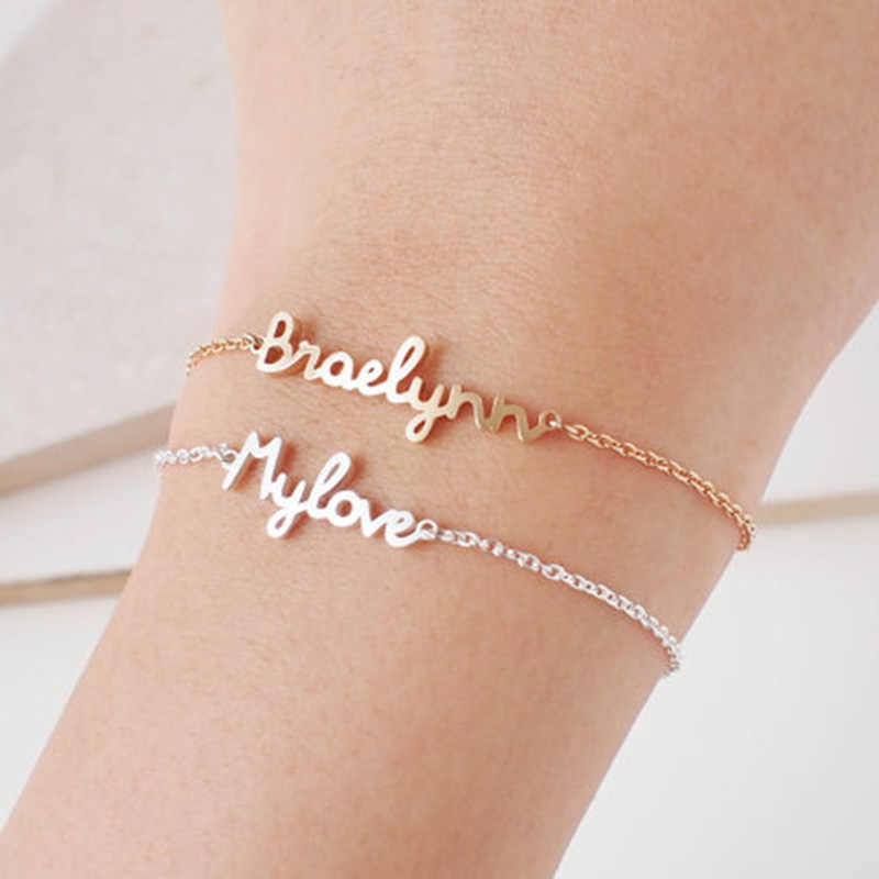 9fa447d408a83 Personalized Custom Name Bracelet Charms Handmade Women Kids Jewelry  Engraved Handwriting Signature Love Message Customized Gift