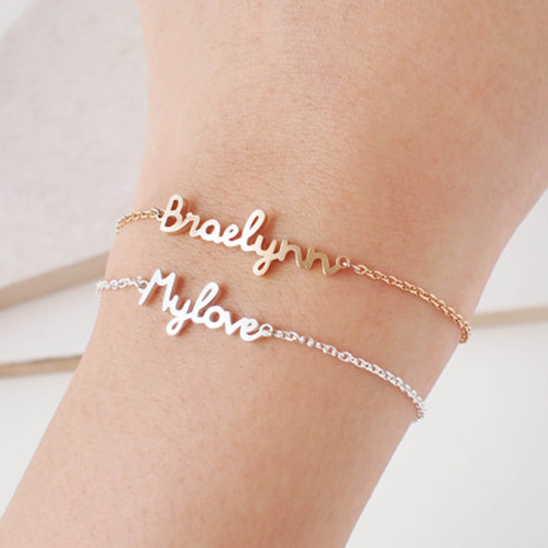 Best buy ) }}Personalized Custom Name Bracelet Charms Handmade Women Kids Jewelry Engraved Handwriting Signature Love Message Customized